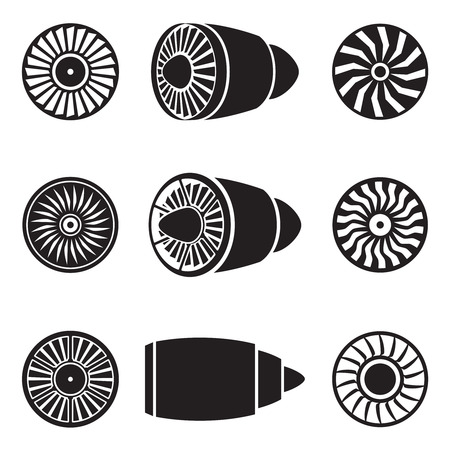 Turbines iconen set. Technologie vliegtuigen, motorvermogen, mes en ventilator. Stock Illustratie