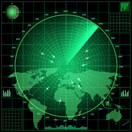 military silhouettes: Radar screen with planes. World  map background, military technology, system and equipment