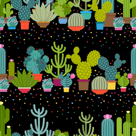 cacti: Horizontal patterns of cactus in flat style. Green plant collection, nature design graphic, houseplant and floral.