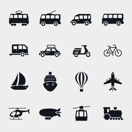 moped:  monochrome transport and vehicle icons. Car and train, bus and balloon, sailboat and moped Illustration