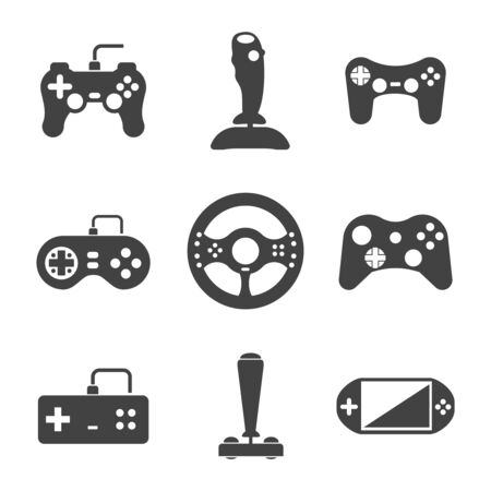 video gaming: Joystick icons set. Video virtual play, gaming console