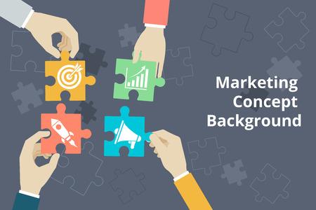 Marketing concept achtergrond in vlakke stijl. Opstarten en het doel, idee en grafische Stock Illustratie