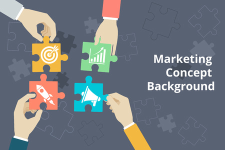 process management: Marketing concept background in flat style. Startup and goal, idea and graphic