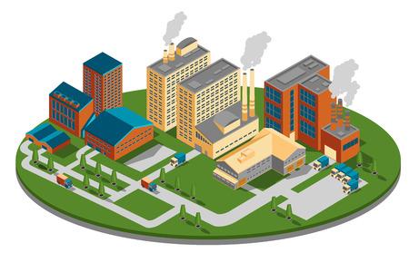 Anlage oder Fabrik oben Seitenansicht. Gebäude isometrisch, Industriegeschäft Energie, Energiebauweise. Standard-Bild - 43141324