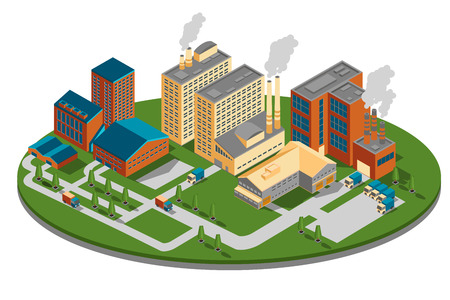 industrial construction: Plant or factory top side view. Building isometric, industrial business power, energy construction design.