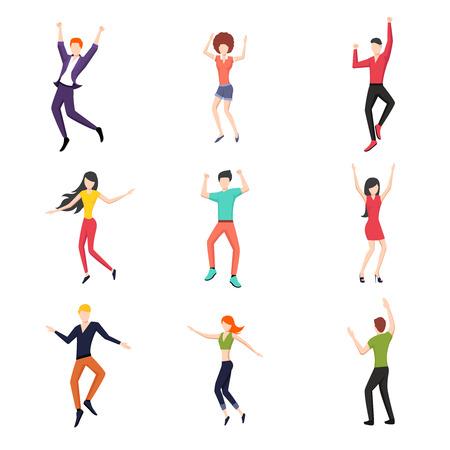 silhouette femme: Ensemble de danser les gens dans le style plat. Young et danse, danseur pose réglé, la mode et heureux.