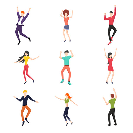illustration people: Set of dancing people in flat style. Young and dance, dancer pose set, fashion and happy.
