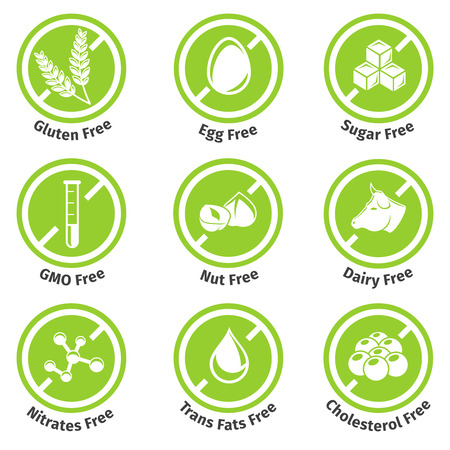 nutrition health: Allergen free products stickers. Eggfree and dairyfree, glutenfree and lactosefree.