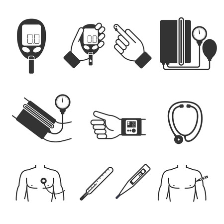 medical instruments: Set of medical measurement and tools. Glucometer, tonometer, thermometer, stethoscope. Test and instrument, measurement and science, laboratory and healthcare