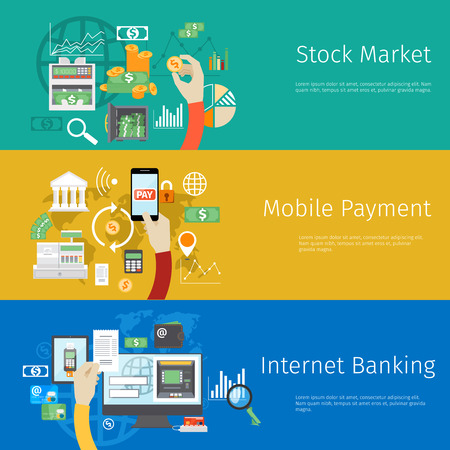 financial symbols: Set of payment concept web banners. Marketing technology, market stock, coin and revenue, bank and earnings, profit and financial.  Illustration