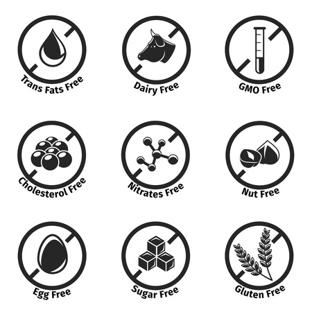 free: Vector dietary labels set. Gluten and cholesterol, gmo free, mitrates and trans fats, dairy and egg Illustration