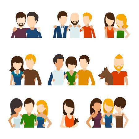 Los amigos y las relaciones de amistad iconos planos. Gente sociales, comunicación persona, pareja humana. Ilustración vectorial