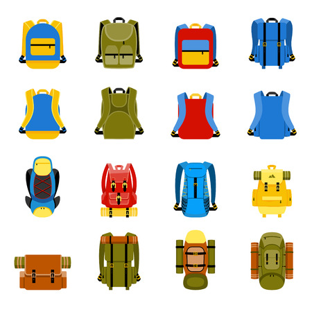 Travel backpack, camping rucksack and school bag icons. Travel hiking, tourism and luggage vector illustration Çizim