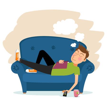 dormir: Sueño del hombre en el sofá. Vectores