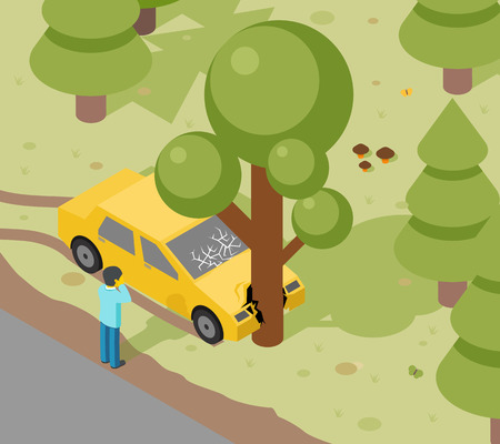 auto accident: Accident auto isometric danger
