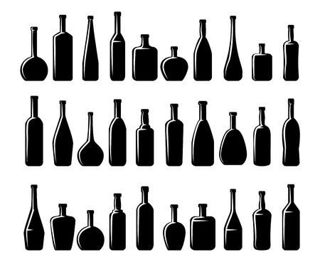 alcool: Les bouteilles de vin et des bouteilles de bière silhouettes.