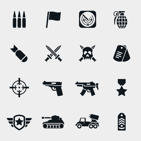 ballistic: Military and weapon gun and army force and bomb illustration