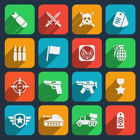 탄약: Weapons and ammunition icons set.