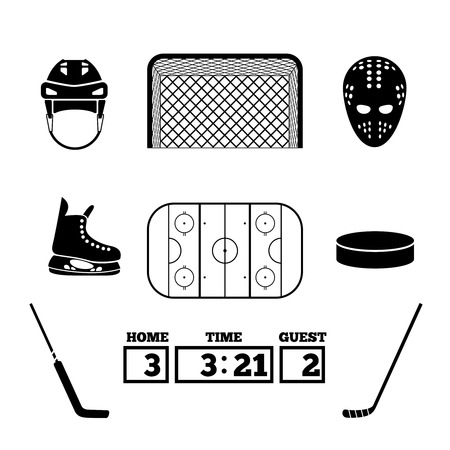 hockey goal: Hockey icons set. Illustration