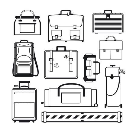 luggage bag: Luggage icons set.