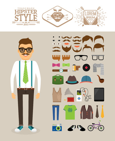 a cartoon film: Hipster man with Hipster accessories Illustration