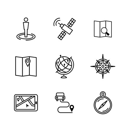 navigazione: Set of location and navigation line icons.