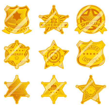 police badge: Golden sheriff star badges.  Illustration