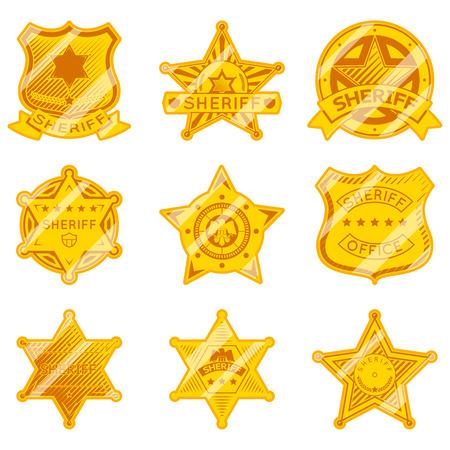 Golden sheriff star badges.  Illustration