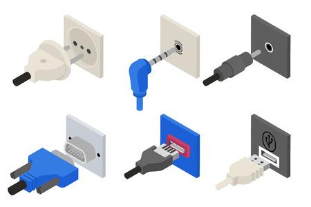 enchufe: Se conecta iconos, 3D isométrico. Vectores