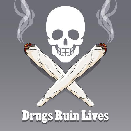 Gevaar verdovende en marihuana, waarschuwing marihuana illustratie