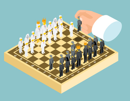 strategies: Isometric 3d business chess figures.