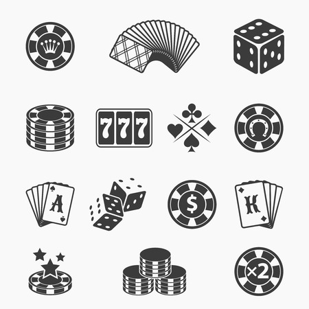 chip set: Gambling icons set.  Illustration
