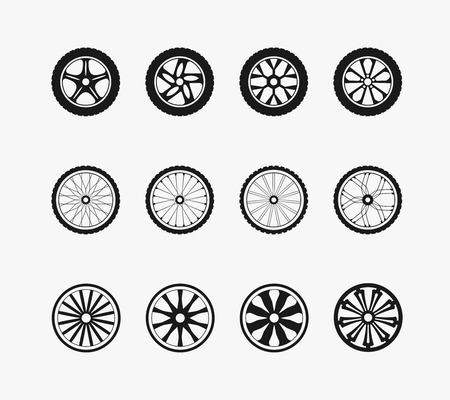 Bike wheels, car wheels and wooden wheels. Round and transportation,  automobile equipment, vector illustration Stock Illustratie