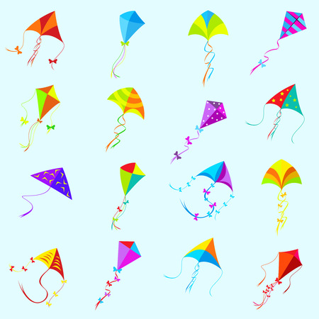 kite flying: color kite set.