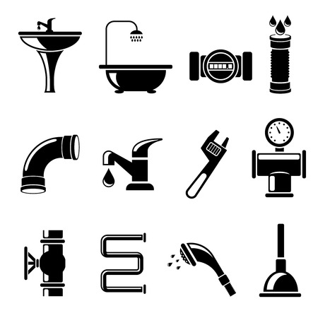 Plumbing icons set. Pipe and counter, shower and bath, sink and tube, vector illustration