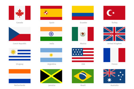 world flags in flat style.