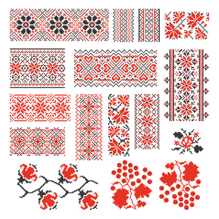 old style: Ukrainian ethnic national seamless patterns