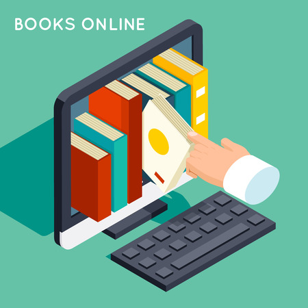 library: Books online library isometric 3d flat concept. Illustration