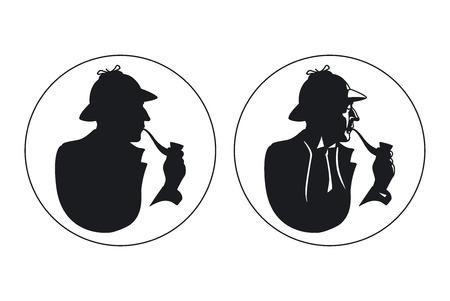 detective: Detective pipe smoker silhouette.