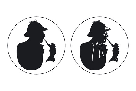 Tubería detective fumador silueta. Ilustración de vector