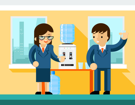 man drinking water: Business people near water cooler. Office design, bottle and person businessman, vector illustration