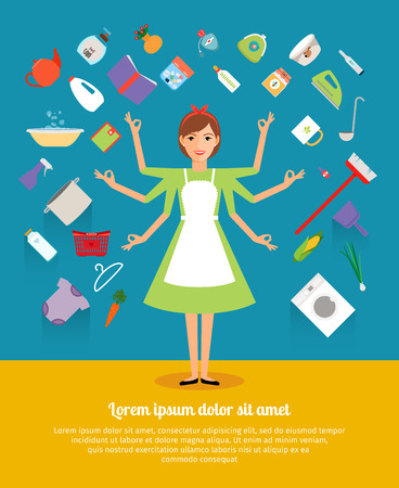 delantal: Conceptos de diseño creativo de la actividad ama de casa. Madre y niña, delantal y cocinar, mujer y mujer, la comida, las tareas del hogar doméstico. Ilustración vectorial