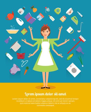 Kreatives Design Konzepte der Hausfrau Aktivität. Mutter und Mädchen, Schürze und Koch, weiblich und Frau, Lebensmittel, Haushaltshausarbeit. Vektor-Illustration Standard-Bild - 43675802