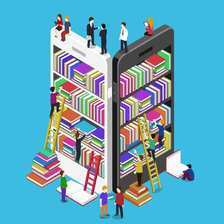Concepto en línea isométrica móvil vector biblioteca plana. E-libros 3d ilustración con la gente micro