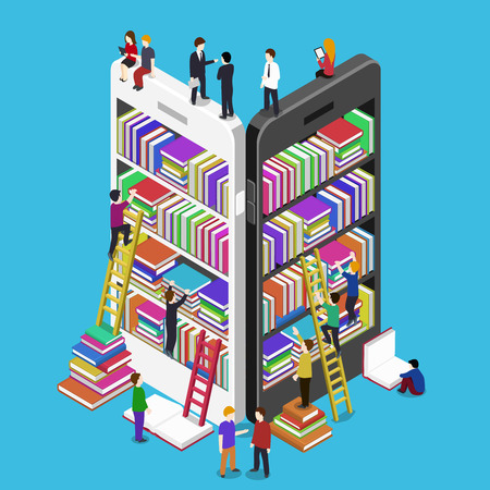 Isometric online mobile library vector flat concept. E-books 3d illustration with micro people Vettoriali