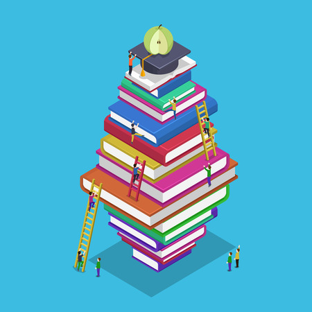 Isometric education graduation back to school 3d concept. People scrambling to books. Students rise to knowledge, vector illustration