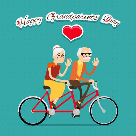 niños en bicicleta: Abuelos felices días de fondo o tarjeta con pareja de ancianos en la bicicleta Vectores