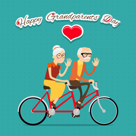 grandparents: Happy grandparents day background or card with elderly couple on bicycle
