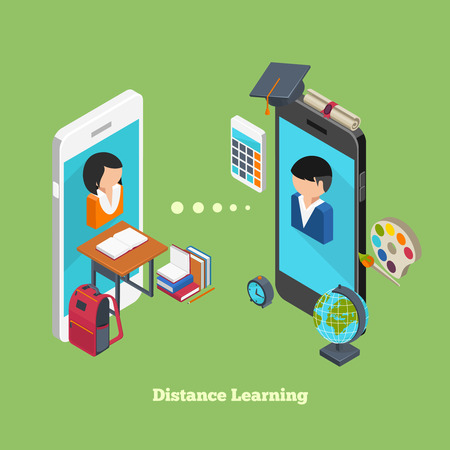 college students: Distance online learning concept. Students avatars on smartphones displays