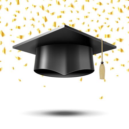 Casquillo de la graduación, el concepto de educación de fondo. Universidad de la escuela de la universidad, el sombrero y el grado, ilustración vectorial